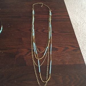 Multi layer gold/turquoise long necklace