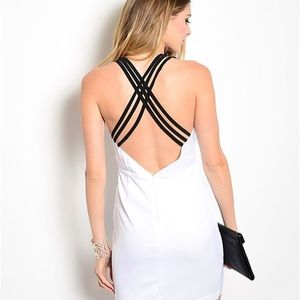 Dresses & Skirts - White Bodycon Strappy Low Cut Dress