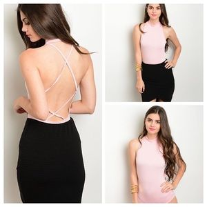 Tops - Blush pink bodysuit with Strappy back button snaps