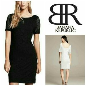 NWT Preforated Dress BR black Banana Republic 10