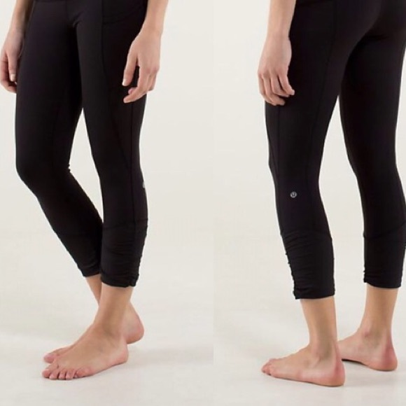 10989e2232cc9 lululemon athletica Pants - Lulu lemon black crop leggings with zipper  detail