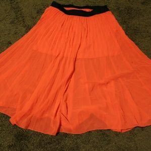 H&M Bright Orange Midi Sheer Skirt