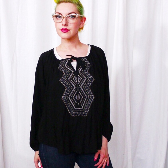 Mossimo Supply Co. Tops - HALF OFF SALE | Black Embroidered Tunic