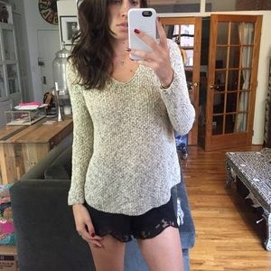 Poof! Sweaters - Poof Loose Knit Sweater w/ Lace Back