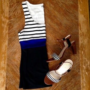 Express Tops - Express Color Block Striped Tank with Silk Waist