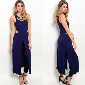 CLEARANCE Navy Cutout Front Slit Tunic Dress