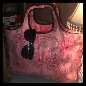EXPRESS pink and brown floral tote