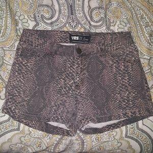 High Waisted Snake Skin Print Denim Shorts