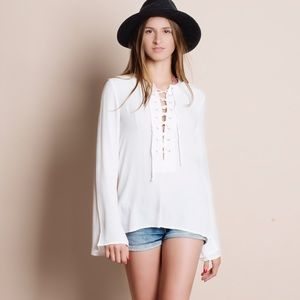 Bare Anthology Tops - Lace Up Bell Sleeve Blouse