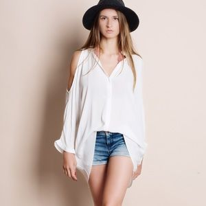 Cold Shoulder Button Down Collared Blouse