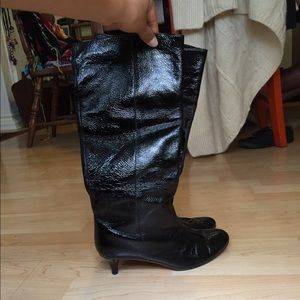 Cynthia Vincent Shoes - Cynthia Vincent black patent leather knee hi boots
