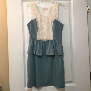 Blue and cream lace peplum dress