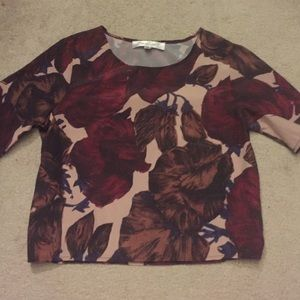 Topshop cropped silky shirt