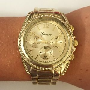 Geneva Gold Chronograph Look Watch For Women