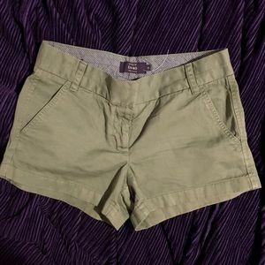 NWOT J. Crew Green Chino Shorts Size 2