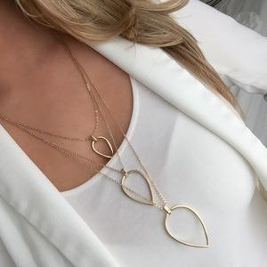 Express gold layered teardrop necklace
