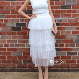Bridal White Tiered Polka Dot Maxi Tulle Skirt