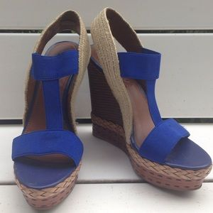 BOUTIQUE9 Royal Blue Wedges with Blue Stitching