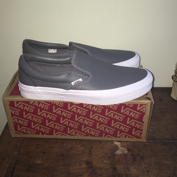 f9b56bbc841 Grey leather perforated Vans