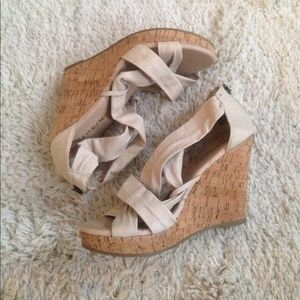 Restricted Shoes - ✨New✨ Restricted Cream criss cross cork wedges