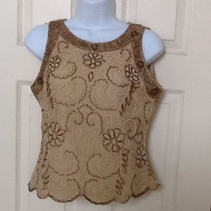J Kara Tops - In great condition size PM tan beaded top