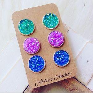 Abbie's Anchor Jewelry - Mermaid Faux Druzy Earring Set💜