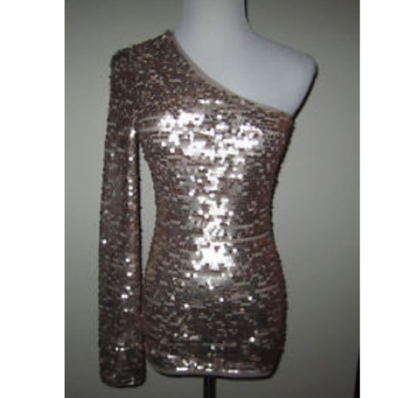 1e1bb41bcca340 BcbgMaxAzria Gold One Shoulder Sequin Top