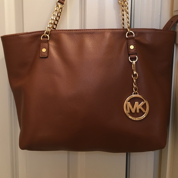 58c351cdeb4d Michael Kors Bags | Brown Leather Mk Bag | Poshmark