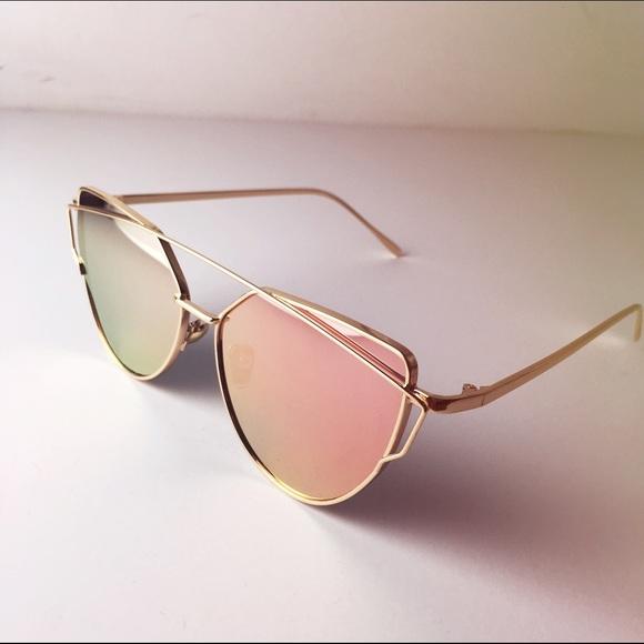 dbe7337730 Rose Gold Mirrored Cat Eye Sunglasses
