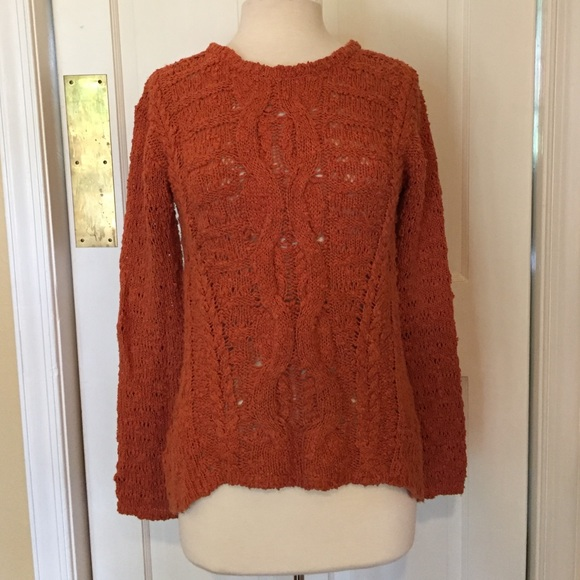 Anthropologie - Burnt Orange Cable Knit Sweater from Sydney's ...