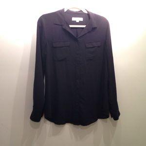LOFT black utility blouse