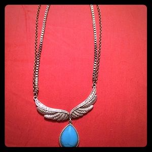 Rock & Roll Cowgirl Jewelry - Silver plated necklace w turquoise.
