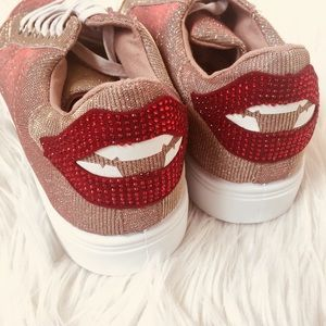 Shoes - Pink Sneaker with Glittery Lip Bling