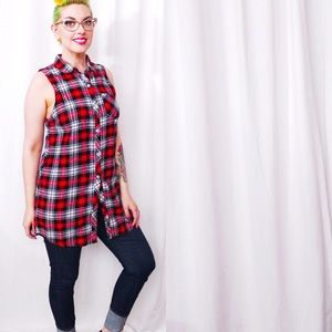💙SALE❤️ Long Sleeveless Plaid Shirt