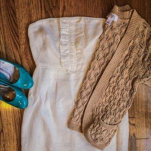 Loft tan short sleeve summer cardigan