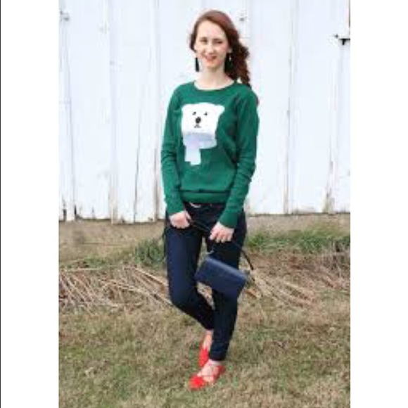 Loft Sweaters Ann Taylor Green Polar Bear Ugly Xmas Sweater Poshmark