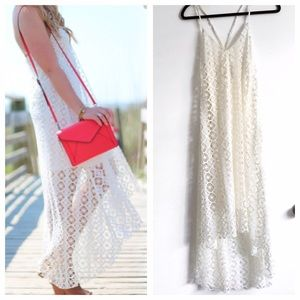 Dresses & Skirts - Off White Lace/Crochet Hi-Low Summer Dress