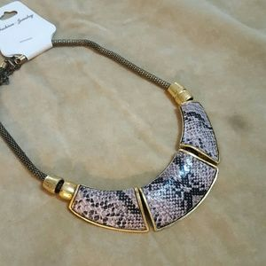 Gold and Snakeskin look statement necklace
