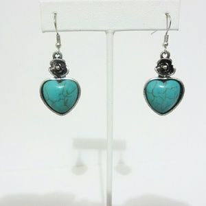 Jewelry - Silver Turquoise Heart Drop Dangle Earrings