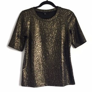 Ann Taylor Tops - Bronze Gold Jacquard Fancy Tee