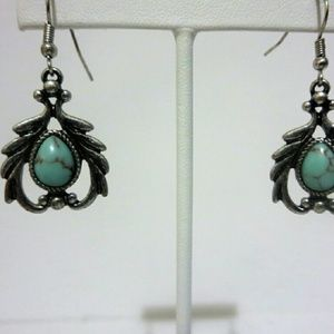 Jewelry - Unique  Silver Turquoise Drop Earrings