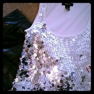 Sliver mirrored sequined tank top