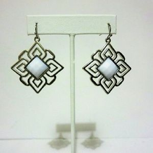 Jewelry - White Gemstone Geometric Earrings