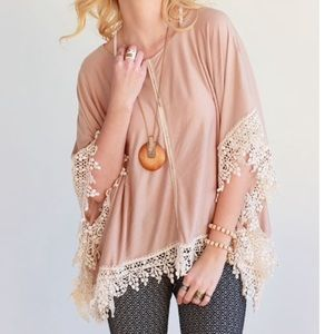 Tops - One Size Beige Boat Neck Poncho