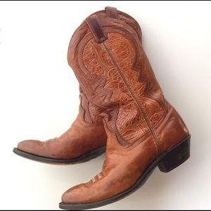 Shoes - Authentic Vintage Tooled Leather Cowgirl Boots