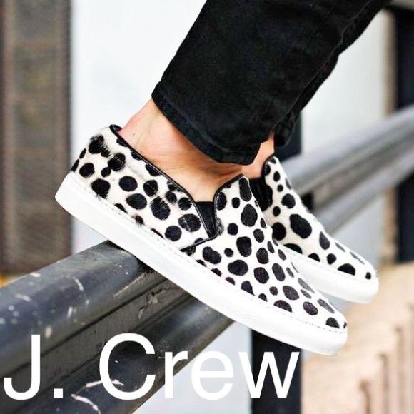 J Crew Calf Hair Snow Leopard Sneakers