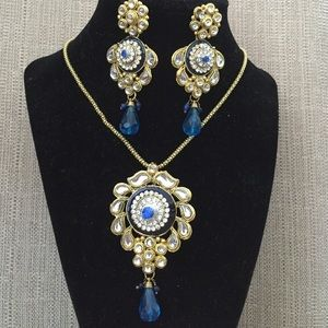Jewelry - Blue gold semi kundan pendant set