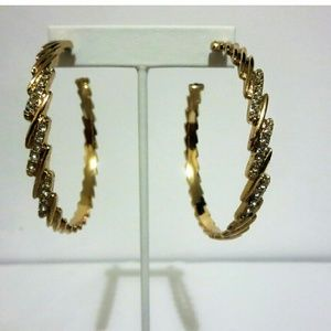 Jewelry - Gold Tone Cubic Zirconia Large Hoop Earrings
