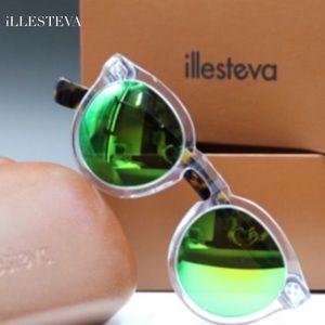 Illesteva Havana Aqua Green Mirror Sunglasses
