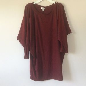 Tops - Oversized Red & Gray Top (Size S)